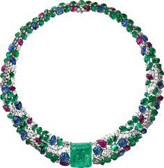 CARTIER. Collier – platine, une émeraude de Zambie gravée de 66,72 carats, boules émeraude, saphirs, émeraudes et rubis gravés, diamants taille baguette, diamants taille brillant. #Cartier #CartierMagicien #HauteJoaillerie #HighJewellery #FineJewelry #CarvedStones #TuttiFrutti #Emeralds #Rubies #Sapphires #Diamonds
