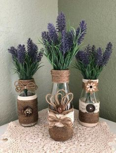 Crafts For Home Decorative Wrapped Bottles, Twine~Jute~Burlap~Wood Buttons~Lavender Florals, Dairy Bottles, Set of Quality Crafted~Farmhouse~Wedding~Home Glass Bottle Crafts, Diy Bottle, Bottle Art, Glass Bottles, Burlap Crafts, Diy And Crafts, Wooden Crafts, Vasos Vintage, Easy Home Decor