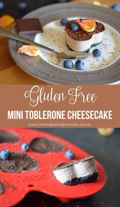 These sweet Mini Toblerone Cheesecakes make the ideal individual dessert for any occasion! Not only are they scrumptious, they also happen to be Gluten Free and so damn easy to make!! via @https://au.pinterest.com/champagnegboots/