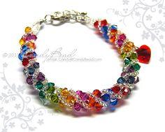 Swarovski bracelet, Dark rainbow twisty Swarovski Crystal Bracelet by CandyBead.