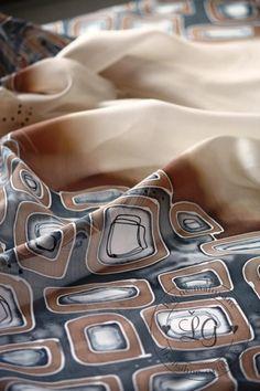 Hnedá mozaika / LGhodvab - SAShE.sk - Handmade Šály