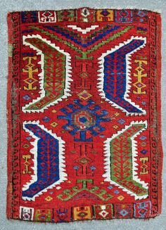 "Central Anatolian Yastik with scintilating  natural colors including aubergine, original selvedges, early 19th. century, 29"" X 21""[74 X 54cm] Excellent condition.  See Morehouse, p.49, # 60."