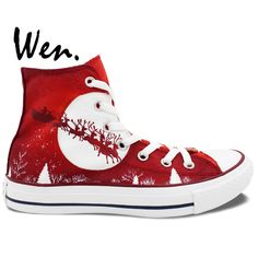 Wen Red Hand Painted Casual Shoes Custom Design Merry Christmas Men Women's High Top Canvas Shoes Christmas Birthday Gifts