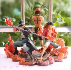 Special 10th Anniversary Edition Collectors Set Its a 3 Piece Set, 1 Sabo, Ace, and 1 Luffy that fit together to form the ultimate Collectors Set to show off your Passion! Made out of PVC & comes with