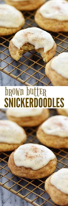 Soft and chewy snickerdoodle cookies with brown butter frosting! SO GOOD!