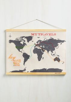 Across-Stitch the World Map. You've been everywhere from New York to New Zealand, and you're always looking for new ways to capture your travel records.  #modcloth