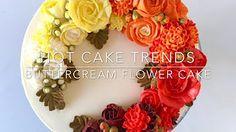 HOT CAKE TRENDS 2016 Buttercream peony and poppy flower wreath cake - YouTube