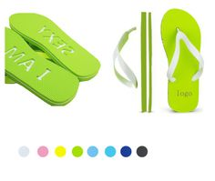 This classical summer flip flop sandal is made of three layers of EVA and a soft PVC strap. We can either etch your logo at the bottom or print the messages on the strap or the base board.