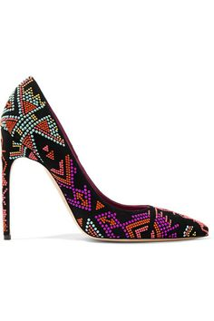 BRIAN ATWOOD Beaded Suede Pumps. #brianatwood #shoes #pumps