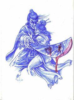 Desenho para tatuagem em caneta esferográfica estilo oriental  samurai e gueixa feita em 2014 por Rodrigo de Azeredo Oriental style ballpoint pen tattoo design Samurai and geisha made in 2014 by Rodrigo de Azeredo