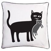 Found it at AllModern - Animal Instinct Cat and Kitten Reversible Cotton Throw Pillow