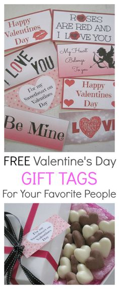 Fun free printable gift tags for Valentine's day.  Choose between 8 designs and use to complete your Valentine's gift. They are the perfect way to say I love you.