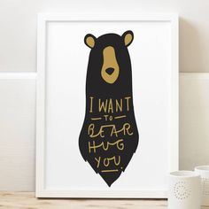 bear hug print by old english company | notonthehighstreet.com