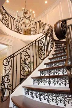 Want to find proposal for a good foyer decor for this year? Just open this article. Here adds a lot of inspirational photographs of foyer decor for you Stair Railing Design, Iron Stair Railing, Staircase Railings, Stair Risers, Staircases, Diy Stair, Stair Decor, Banisters, Wallpaper Stairs