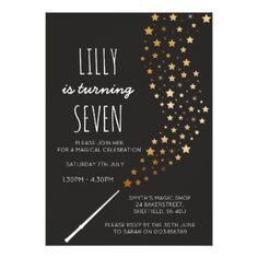 Magic themed birthday party invitation - birthday cards invitations party diy personalize customize celebration