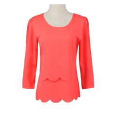 (5.62$)  Buy here - http://aia8e.worlditems.win/all/product.php?id=G1396R-S - New Women Chiffon Blouse Sexy Open Back Scalloped Cutout 3/4 Sleeve Layered Casual Shirt Top