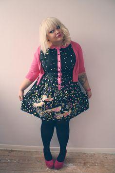 Hayley Barnes - G 21 Bird Print Dress, Lydc Pink Wedges, New Look Pink Cropped Cardigan - Bird Print Dress Plus Size