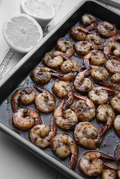 Moroccan Baked Shrimp: A Cross Between Chermoula and Pil Pil, My daughter made this for dinner.So Good and Easy Baked Shrimp Recipes, Seafood Recipes, Tapas Recipes, I Love Food, Good Food, Yummy Food, Great Recipes, Favorite Recipes, My Burger