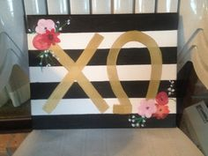 Striped Greek Letter Canvas by southerncharm27 on Etsy
