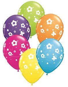 """Daisies & Butterflies 11"""" Latex Balloons 6pk"""