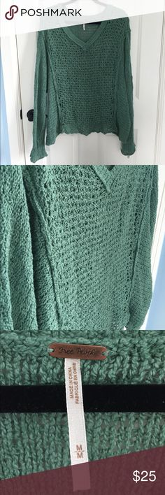 Free People Green Sweater This is an oversized Free People Sweater. Very flowy and breathable! Slight wear at the right sleeve as seen in the picture. Let me know if you have questions or want to bundle! Free People Sweaters