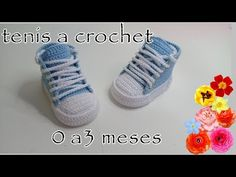 Tenis tejidos a crochet - modelo Roberts -0 a 3 meses - YouTube Crochet Baby Boots, Crochet Sandals, Crochet Beanie Hat, Crochet Baby Clothes, Crochet For Boys, Crochet Shoes, Baby Blanket Crochet, Baby Converse Shoes, Baby Sneakers