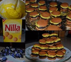 Cute Mini Cheeseburgers. Fun for kids! (Yellow frosting, Nilla Wafers and York Peppermint Patties) Yum! (ideas for graduation party for kids)