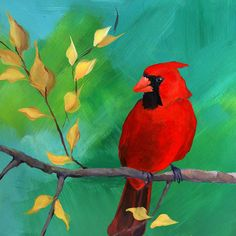Male Cardinal acrylic painting on a 8 x 8 Panel by MangioneStudios, $85.00