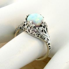 ON SALE Antique Victorian Style White Opal Filigree Engagement Ring, Sterling Silver October Birthstone Ring, Floral Leaf & Vine Motif, Size and other apparel,...