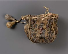 1625-1700, Europe - Drawstring bag - Silk and metallic threads; brocaded; woven drawstring with metallic tassels