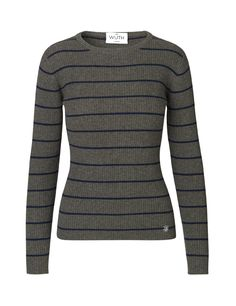 Classic Striped Rib Pullover - Army/Navy