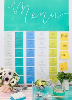 Post-it Note #DIY: Cocktail Party Menu using Notes from the @postitproducts A World of Color collections: http://ohsobeautifulpaper.com/2015/02/post-it-brand-a-world-of-color-collections-cocktail-party-menu/ | Photo: Nole Garey for Oh So Beautiful Paper