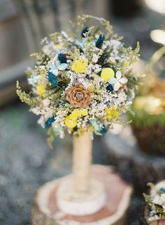 inspiration   blue and yellow wedding bouquet   brett heidebrecht photography   via: ruffled