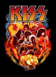 New Rare Kiss Rock and Roll Heavy metal Hard Rock band Men Black T-Shirt - T-Shirts, Tank Tops Rock N Roll, Blues Rock, Aerosmith, Hard Rock, Heavy Metal, Banda Kiss, Kiss World, Kiss Painting, Classic Rock
