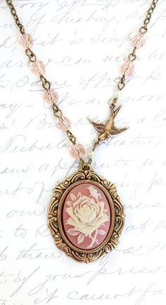 Pink Cameo Necklace Ivory and Pink Rose Pendant/ I would like it even better if it were in silver.