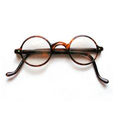 1930s Tortoiseshell Celluloid Harold Lloyd Eyeglasses with leather case from MisterBibs Vintage