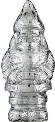 Disco Gnome. Disco ball themed lawn gnome. Fun party companion with thousands of hand-applied tiny mirrors.