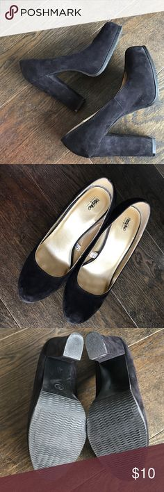 """B L A C K • P U M P S Black • suede-like • platform • pumps • 5"""" heel • in excellent condition • just a few minor scuff marks • shown in photo 4 • no trades • comment with questions Mossimo Supply Co. Shoes Heels"""