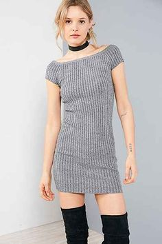 Silence + Noise Ribbed Off-The-Shoulder Bodycon Mini Dress