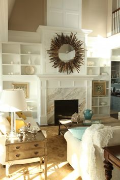 driftwood mirror over fireplace
