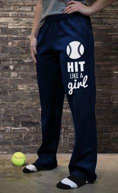 Softball Fleece Sweatpants Softball Hit Like A Girl SB-02545