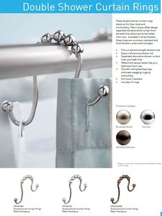 Double shower curtain rings, hang two curtains from one shower rod. Double Shower Curtain, Shower Curtain Rings, Bathroom Shower Curtains, Kitchen Curtains, Rustic Curtains, Diy Curtains, Gold Curtains, Nursery Curtains, Curtains Living