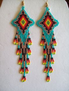 Beautiful Native American Beaded Turquoise Firey Sunburst Earrings Shoulder Duster 5 1/2 in. long