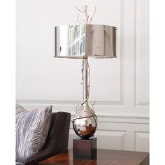 """White Glove Delivery, Crated  Holds two 60W """"A"""" lamp bulbs; 8' clear silver cord, Foot switch on cord. Round drum nickel finished steel shade. White perforated metal diffuser."""