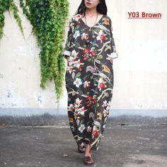 Cotton Linen Plus size Women Dress V-neck Flower print Long Summer Dress Original design