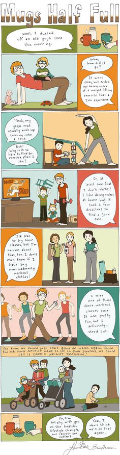 Working Out the Kinks | ParentSavvy  We all know that a healthy lifestyle is important, but finding a routine that fits into your schedule (and around your kids) can be a challenge. Fill up a mug and water bottle and join the ladies as they navigate a few healthy hurdles!  #webcomic #parenting #exercisewithkids
