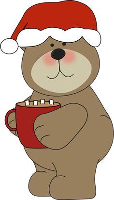 Christmas Bear Drinking Cocoa