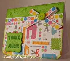 """Bright Green """"Thanks Sew Much!"""" Thank You Card with a Sewing Theme"""