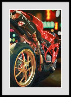 Giclee Print of Motorcycle Oil Painting Ducati 1098 di MotoPainter