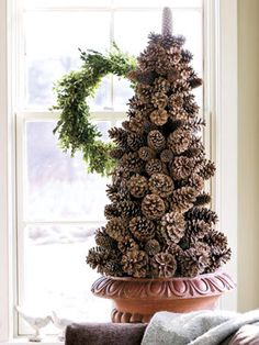 Eco Christmas Table Decorations Made of Pine Cones Eco Christmas decoration, miniature Christmas tree Pine Cone Tree, Pine Cone Christmas Tree, Alternative Christmas Tree, Noel Christmas, Country Christmas, Winter Christmas, Pine Cones, Christmas Wreaths, Cone Trees